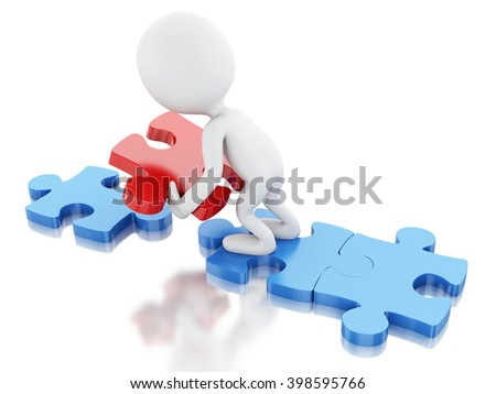 3D Illustration. White people with piece of a puzzle. Business and success concept. Isolated white background.