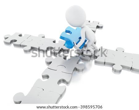 3D Illustration. White people with piece of puzzle. Business and success concept. Isolated white background.