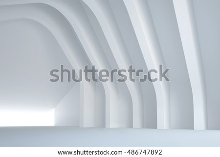 3d illustration. White three-dimensional composition based on a repetitive curve shapes. Architectural background, render.