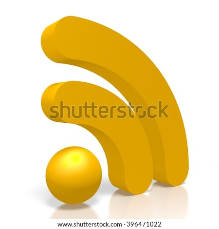 3D illustration - WiFi symbol, wireless network. - stock photo