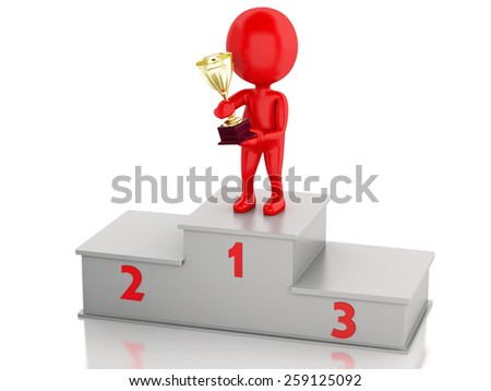 3d illustration. Winner celebrating on podium with trophy. Isolated white background - stock photo