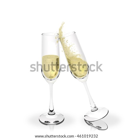 3D illustration. Wishes, party. Toast with champagne isolated on white background