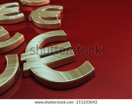 3D illustration with Euro symbol on red background - stock photo