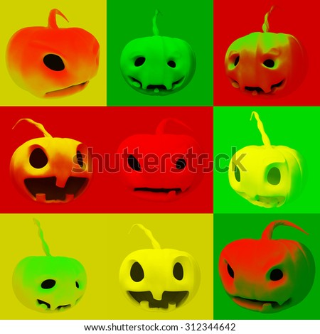 3d illustration with pumpkins in which different mood - stock photo