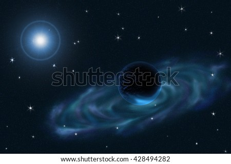 3D illustration  with Star nebula, Blue star and Black planet.