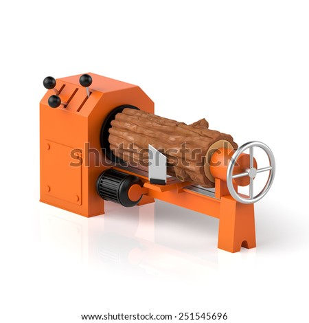 3d illustration. Wood processing, timber and machine on a white background - stock photo