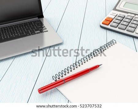 3D Illustration. Workplace with laptop, notebook and calculator. Business concept.