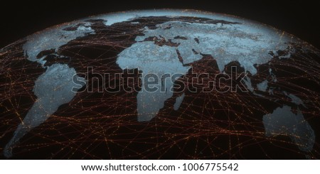 3 d illustration world map satellite data stock illustration 3d illustration world map with satellite data connections connectivity across the world publicscrutiny Gallery