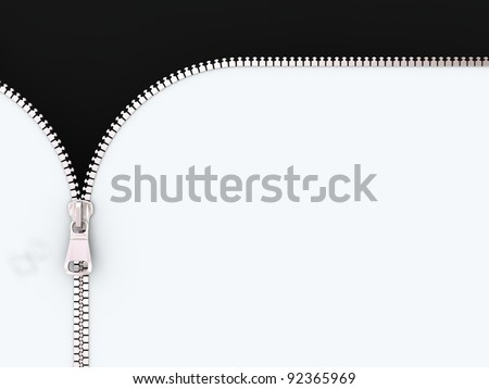 3D Illustration Zipper on White and Black Background. - stock photo