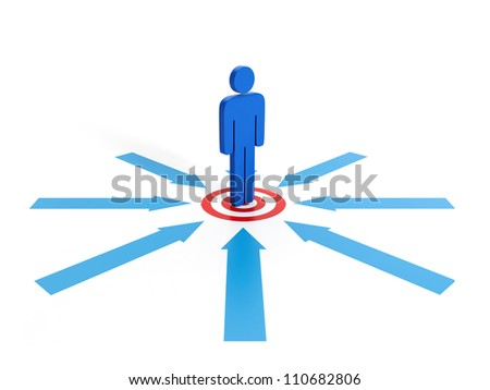 3d illustrations: Business concept. Competition for the goal. The red circle and a man