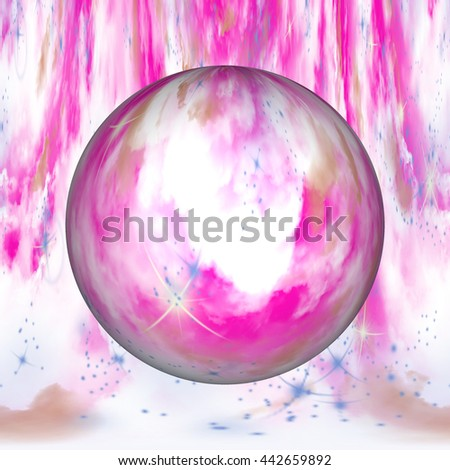 3d illustrations hot pink floating white tan swirls twirls pink design background backdrop psychedelic powerful ball orb circle  - stock photo