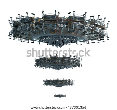 3D illustrations of a UFO in four images adjusted for perspective, for science fiction backgrounds or interstellar deep space travel with the clipping path, included in the file