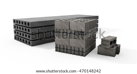 3d illustrator of pallets of concrete blocks and plates on a white background