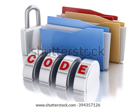 3d Ilustration. Folder lock with padlock and password combination. Security concept. Isolated background - stock photo