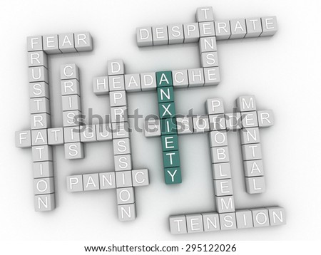 3d image Anxiety issues concept word cloud background - stock photo