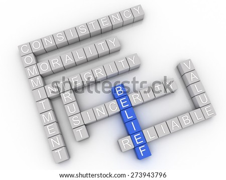 3d image Belief  issues concept word cloud background