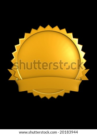 3d image, best brand badge, Gold - stock photo