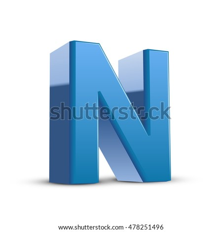 3D image blue letter N isolated on white background
