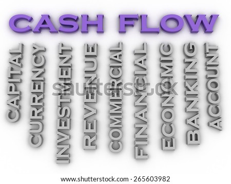 3d image cash flow   issues concept word cloud background - stock photo