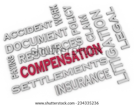 3d image Compensation issues concept word cloud background - stock photo