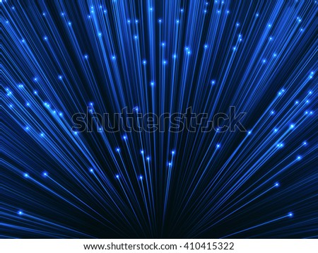 3D image concept of optical fiber. Glare effect on the tips of the optical fiber. - stock photo