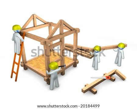 3d image, conceptual, construction site, teamwork - stock photo