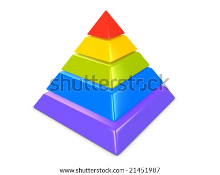 3d image, conceptual 5 layers hierarchy pyramid - stock photo