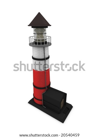 3d image, conceptual, lighthouse isolated