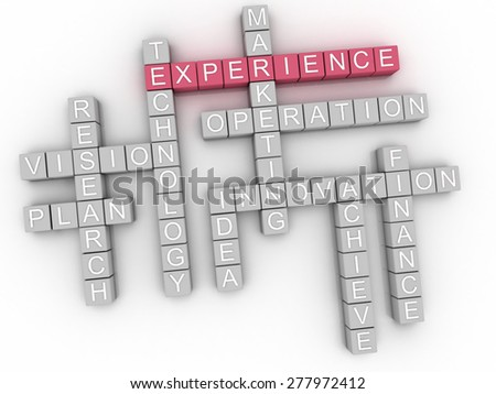 3d image Experience  issues concept word cloud background