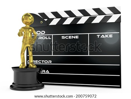 3d image. film award and clapperboard - stock photo