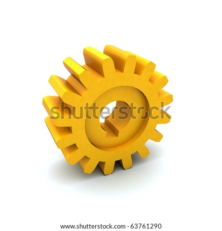 3d image. Gear from yellow plastic.