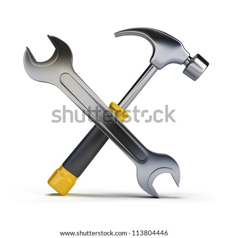3d image. Hammer and wrench. Isolated white background.