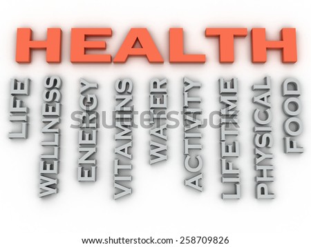 3d image HEALTH  issues concept word cloud background - stock photo