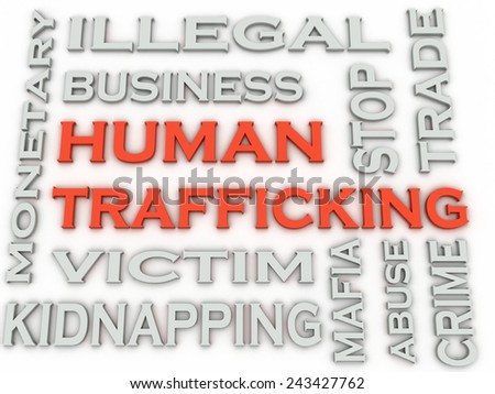 3d image Human trafficking issues concept word cloud background - stock photo