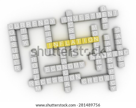 3d image Inflation issues concept word cloud background - stock photo