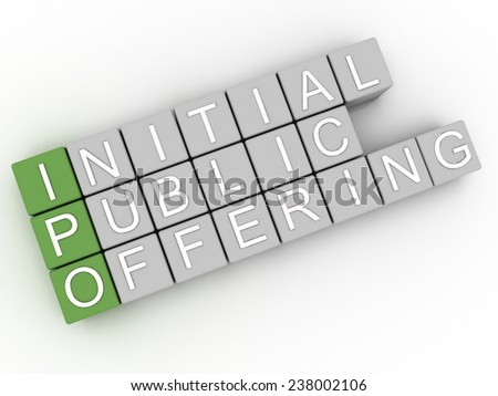 3d image IPO (Initial Public Offering)  issues concept word cloud background - stock photo