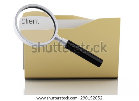 3d image. Magnifying glass examine client in folder. Search Documents Concept. Isolated white background - stock photo