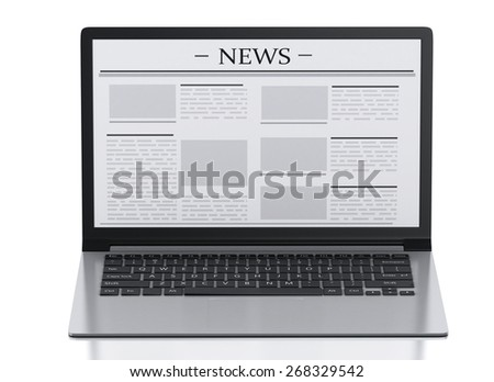 3d image. Modern laptop with news. Internet, Media concept on white background - stock photo