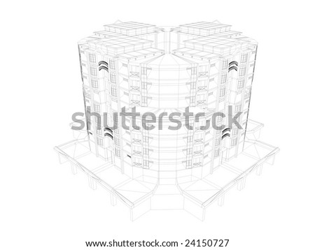 3d image, multi storey apartment, wireframe - stock photo