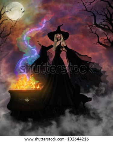 3D image of a beautiful witch and black cat creating a mystic brew in her fiery cauldron in the spooky forest. - stock photo