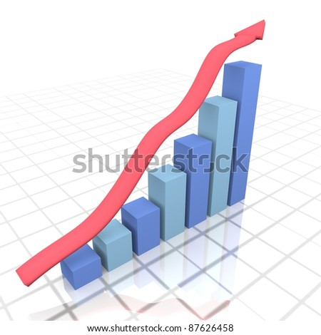 3D image of a business financial graph - stock photo