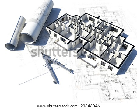 3D image of a floor plan and some blueprints - stock photo