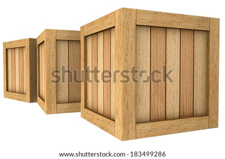 3d image of a group of wooden boxes on a white background. - stock photo