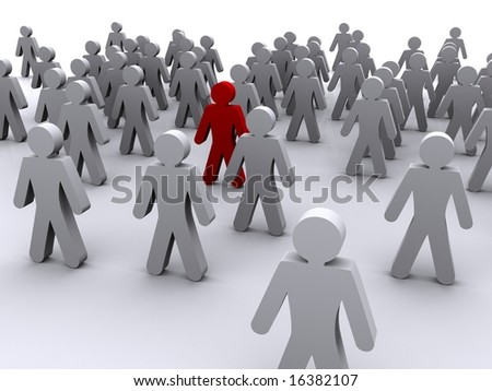 3D Image of a man in a gathering of other men, a metaphor for being outstanding or a minority