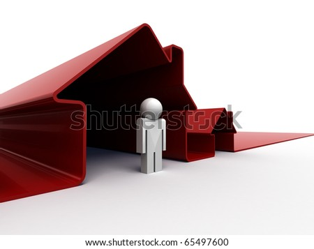 3d image of a man standing in front of his house - stock photo
