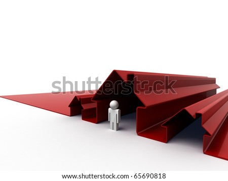 3d Image Of A Man Standing In Front Of His House. View Preview