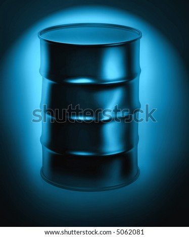 3d image of a metal barrel filled with crude oil - stock photo