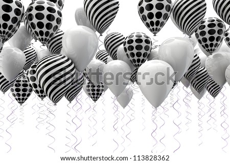 3d image of abstract black and white ballons - stock photo