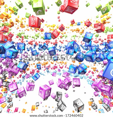 3d image of abstract cubes and icon set - stock photo