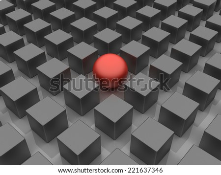 3D image of allegory, representing standing out of the crowd.